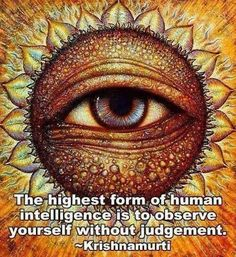 """Krishnamurti remarked that """"the highest form of intelligence is the ability to observe without evaluating."""""""