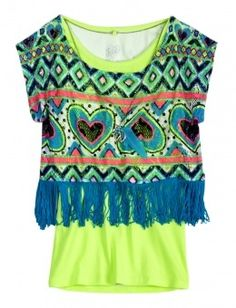 This is a fashionable top for a girl. It is sold at justice ( just for girls) and is great for a girl that likes to show their true colors.