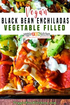 Packed with vegetables and black beans, spiced just right, and baked in a mild enchilada sauce. These easy to make, healthy, veggie-filled, black bean enchiladas will be a hit with your crowd! | Veggie Fun Kitchen @veggiefunkitchen #veganenchiladas #veganmexicanrecipes #vegetableenchiladas #healthyenchiladas #blackbeanenchiladas #veggiefunkitchen Vegan Mexican Recipes, Vegan Dinner Recipes, Delicious Vegan Recipes, Whole Food Recipes, Vegetarian Recipes, Cooking Recipes, Ethnic Recipes, Vegan Comfort Food, Vegan Food