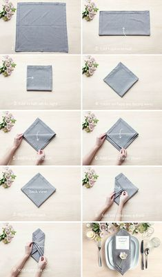 Add a little extra dash of style to your wedding table with this easy step-by-step guide for folding your wedding napkins. We are so thrilled to feature these wonderful ideas thanks to our friends at Evermine where not only will you find fun ideas and details but you can also shop for wonderful items for your wedding. See more from our rustic wedding DIY section for great DIY wedding projects. 1. The Single Pocket Fold The single pocket fold is very versatile. It creates a perfect spot to