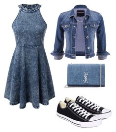 """""""Jean chic"""" by kiersten-scudder on Polyvore featuring WithChic, maurices, Converse and Yves Saint Laurent"""