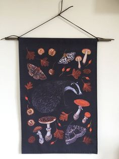 Nightfall Badger wall hanging - moths mushrooms toadstools, by The Floral Fox Art Custom Printed Fabric, Printing On Fabric, Amy Rose, Fox Art, Badger, Design Your Own, Mushrooms, Design Inspiration, Monogram