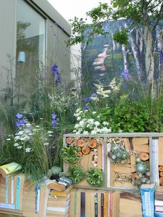 Garden designer Agata Byrne, Dalkey Book Festival, garden display with insect hotel, June, 2011