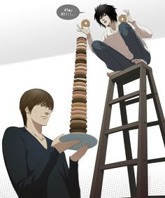 L and Light (Death Note.) My, what an impressive doughnut tower.