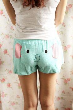 Pantalones cortos lindos patrón del elefante para la Mujer