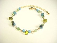 Green and blue bracelet green and blue beaded by Coloramelody