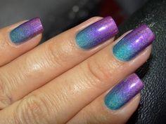 Blue and purple ombre manicure