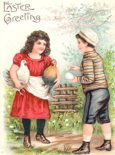Vintage Easter Postcard Girl Rooster Hen Boy Egg Fence Garden   eBay