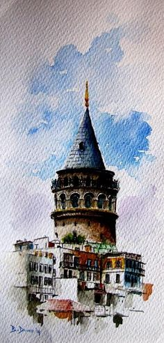 Galata Tower (Istanbul) painted by Berrin Duma Watercolor Sketch, Watercolor Illustration, Watercolor Paintings, Watercolors, Watercolor Architecture, Watercolor Landscape, Istanbul, Turkish Art, Guache