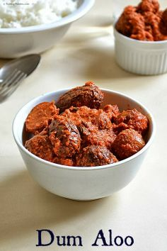 Kashmiri Dum Aloo - Baby Potatoes cooked in a spicy yogurt gravy that goes well with rotis, naan and pulaos. Aloo Recipes, Spicy Recipes, Soup Recipes, Vegetarian Recipes, Cooking Recipes, Vegetarian Starters, Veg Recipes Of India, Indian Veg Recipes, Ethnic Recipes