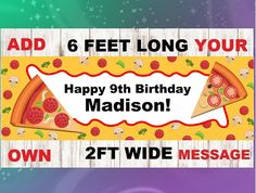 Pizza Garland Pizza Banner Pizza Party Banner Pizza Party