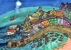 Tenby Harbour painting by Dorian Spencer Davies at www.made-in-wales.co.uk