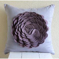 "Felt 3D Origami Flower 18""X18"" Faux Suede Blue Pillow Covers - Dreamy Rose"