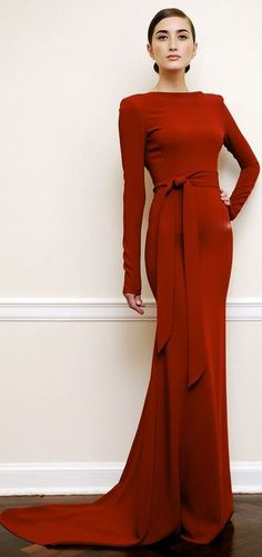 What to wear to Langham's Lounge:Victoria Beckham evening wear red gown