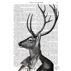 Dotty Dictionary - Deer Portrait 2, impression sur page ancienne, 20,5x27cm   ACHICA