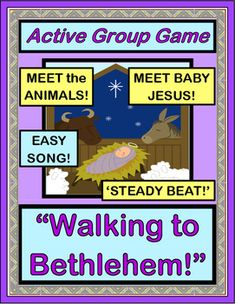 """"""" . . . THE BABY'S BORN TODAY!"""" Play this CHRISTMAS GROUP GAME, and your kids will be the ones walking on the road to Bethlehem and greeting all the (noisy!) animals! THREE ANIMAL TEMPLATES plus easy SONG DIRECTIONS are included-- no musical skills needed. (10 pages) Active Christmas fun from Joyful Noises Express TpT! $"""