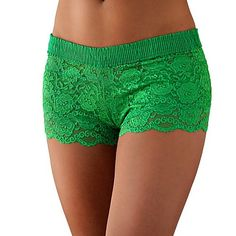 Kelly Green Lace Boxer - Perfect for St Patricks Day!    The 90% Nylon and 10% Spandex ivory lace is ultra soft and hugs the body. The FOXER top is made from 100% cotton.