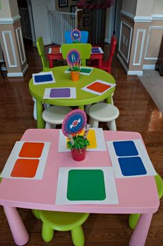 again with the cute placemat - and hey, check out the adorable centerpieces!