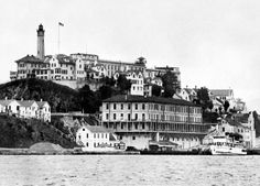 A view from the 1930's of the Alcatraz island and penitentiary, in San Francisco Bay.