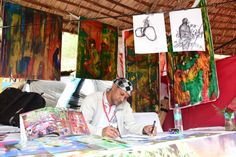 Artist Robert Alexis from Seychelles displaying his paintings at the Surajkund International Crafts Mela! International Craft, Stalls, Seychelles, Paintings, Display, Artist, Crafts, Floor Space, Manualidades