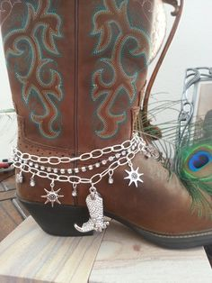 Three Strand Rhinestone Studded Boot Anklet Bling by HowlingWolvesJewelry on Etsy