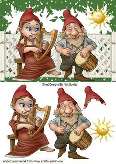 MUSICAL GNOMES IN THE GARDEN WITH THE SUN, Makes a cute card, lots of other gnomes to see