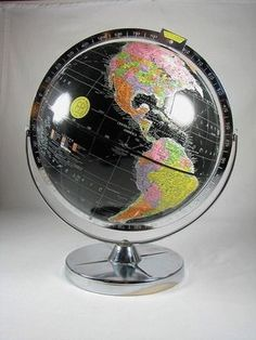 Vintage 60's World Globe with Jet Black Oceans by SeventhandMain, $175.00