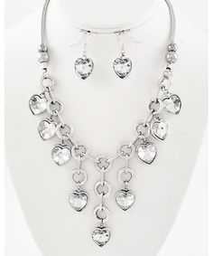 442247 Burnished Silver Tone / Clear Glass / Lead&nickel Compliant / Heart Charm / Necklace & Fish Hook Earring Set