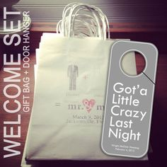 Set of 10 Custom Designed Wedding Welcome Bags and Door Hangers for Wedding Favors - Package