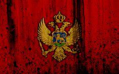 Download wallpapers Montenegrin flag, 4k, grunge, flag of Montenegro, Europe, national symbols, Montenegro, coat of arms of Montenegro