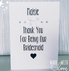 Personalised Bridesmaid Thank You Card Bridesmaid Thank You Cards, Will You Be My Bridesmaid Gifts, Personalized Greeting Cards, Personalized Bridesmaid Gifts, Cards Against Humanity, Unique