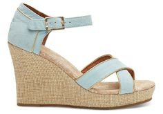 undefined Light Blue Suede Gold Trim Women's Strappy Wedges