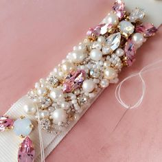 Swarovski Crystal & Pearl Pink Bridal Belt - One of a Kind Hand Stitched