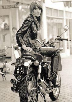 Françoise Hardy legendary French singer from Icons of Style 20 postcards 2016. (please follow minkshmink on pinterest) #françoise hardy #icons #fashionicon #styleicon #motorbike #motorcycle #hondamotorbike