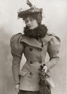 c. 1890's, This coat has the same large shoulders as was typical of  many blouses and dresses of the time.