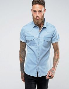 ASOS Slim Denim Shirt With Western Styling In Bleach Wash - Blue