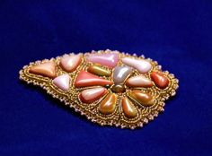 "Caramel Brooch. Seed bead embroidery with glass cabochons. $36. Брошь ""Карамель"". 1200 р."