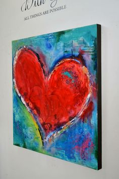 "Title: ""Music of the Heart"" Size: 43.5x43.5x2 A large ruby heart serves as center stage in this heart portrait painted on a wooden panel, its touch of gold flaking around the lining makes this piece catch the light perfectly in any setting. http://www.ivanguaderrama.com/heart-paintings.html"