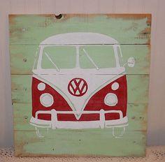 Volkswagen/VW BUS/Transporter Hippie surf Original Artwork PALLET Retro Wall Art | Art, Direct from the Artist, Paintings | eBay!