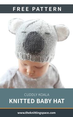This super cute and cuddly Koala knitted baby hat make for an quick and easy gift for a special little person. Get the FREE knitting pattern NOW . Baby Boy Knitting Patterns Free, Baby Hats Knitting, Knitting For Kids, Free Knitting, Knitting Projects, Knitted Hats Kids, Knitted Baby, Baby Boy Hats, Etsy
