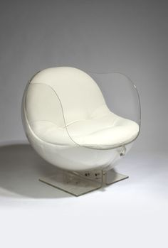 Armlesschair by Boris Tabakoff. Space Age Lucite & White Leather. Modernist.
