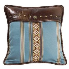 Delectably Yours Ruidoso Square Blue Stripe Pillow w/ Faux Leather Top by HiEnd Accents #DelectablyYours Western Southwest Decor
