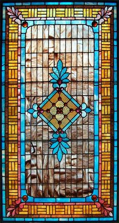 AE367 Authentic vintage American stained glass Victorian window