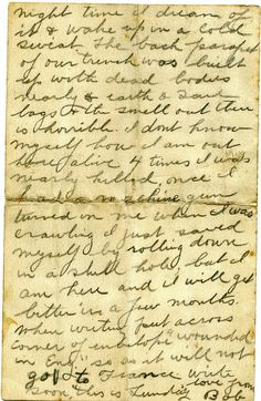 Two letters written by Robert Burns Florence in World War One show the dramatic change in him after doing battle at The Somme. Page Three, British Armed Forces, Robert Burns, September 22, World War One, Letter Writing, Florence, Military, Letters