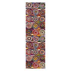 Safavieh Fiesta Shag Collection FSG359M Geometric Circles Abstract Art Multicolored Area Rug