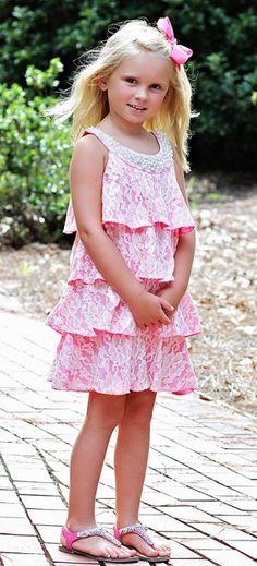 Lipstik Girls Lace Ruffles Dress for Girls Pink|Lipstik Girls $54.00