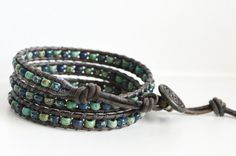 3x Leather Wrap Bracelet, Blue Green Picasso Bead 3 Wrap Bracelet, Triple Wrap Beaded Bracelet, Boho Style Bracelet, Bohemian Wrap