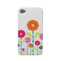 Cute Colorful Flowers white iPhone 4\ 4S Case-Mate Iphone 4 Case from Zazzle.com