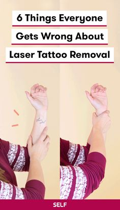 Though lasers are helpful, efficient, and effective when it comes to tattoo removal, there are a bunch of misconceptions about what they ca. Laser Tattoo, I Tattoo, Tattoo Removal Process, Beginner Tattoos, Trendy Haircuts, Good Hair Day, Laser Hair Removal, Glowing Skin, Cool Hairstyles