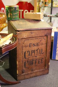 "Lovely old ""Use Capital Coffee"" wooden box with just the right amount of wear"